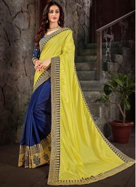 Spellbinding Yellow Embroidered Trendy Saree