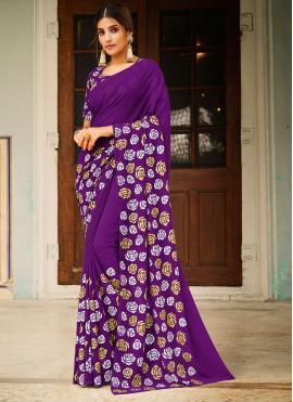 Splendid Abstract Print Purple Saree