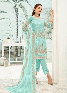 Splendid Blue Faux Georgette Pant Style Suit