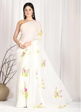 Splendid Printed Off White Printed Saree