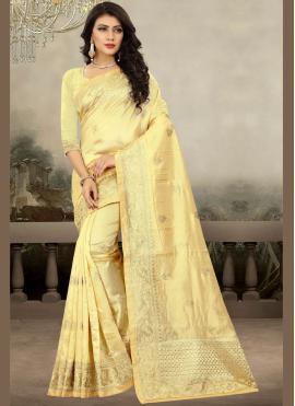 Splendid Yellow Embroidered Traditional Designer Saree