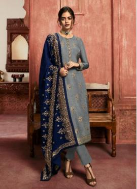 Staggering Grey Sangeet Pant Style Suit