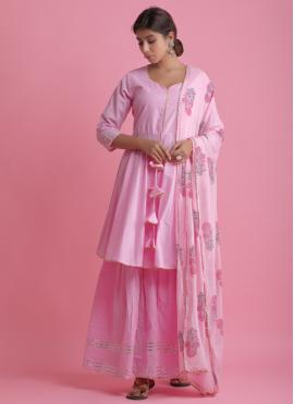 Staggering Pink Cotton Readymade Suit