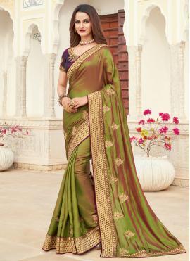 Staring Embroidered Green Silk Designer Saree