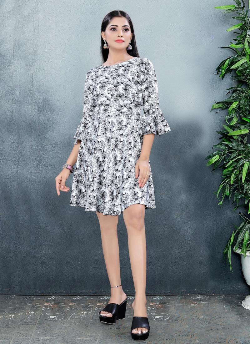 Staring Print Fancy Fabric Designer Kurti