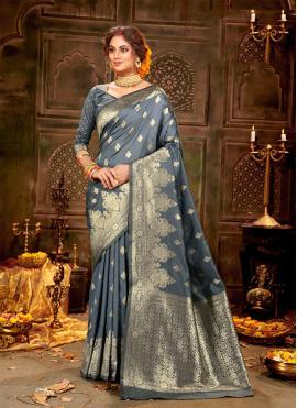 Sterling Banarasi Silk Grey Weaving Traditional Saree