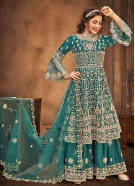 Stone Net Designer Pakistani Salwar Suit in Rama