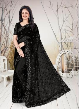 Stone Net Traditional Saree in Black