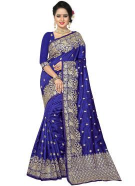 Strange Blue Bridal Traditional Saree