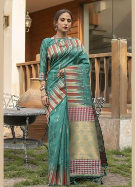 Strange Fancy Sea Green Tussar Silk Designer Traditional Saree