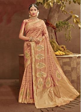Strange Peach Fancy Banarasi Silk Traditional Designer Saree