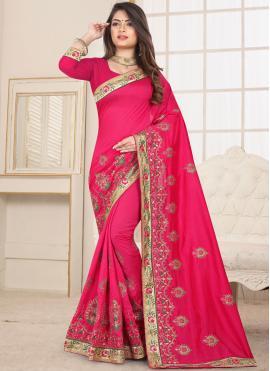 Strange Pink Classic Saree