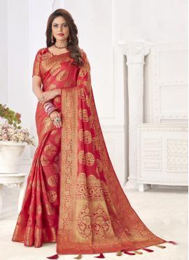 Strange Pink Silk Designer Traditional Saree