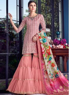 Striking Chanderi Pink Designer Pakistani Suit