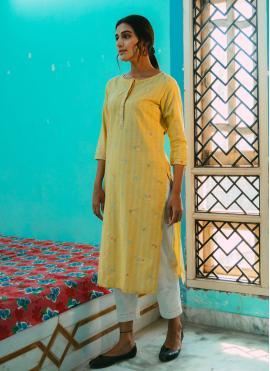 Striking Embroidered Cotton Party Wear Kurti