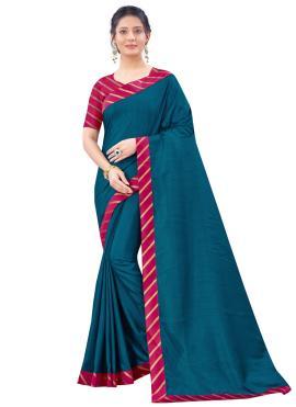 Striking Patch Border Art Silk Blue Traditional Saree