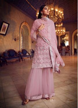 Striking Pink Mirror Net Designer Pakistani Salwar Suit