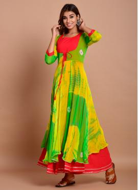 Striking Printed Faux Chiffon Green Readymade Trendy Gown