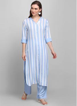 Striking Rayon Blue and White Printed Party Wear Kurti