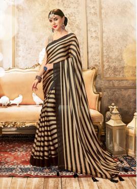 Stripe Print Faux Chiffon Printed Saree in Brown