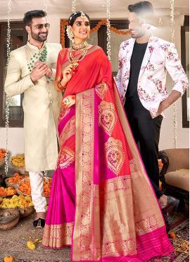 Stunning Banarasi Silk Weaving Rani and Red Designer Saree