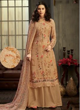 Stunning Brown Digital Print Georgette Trendy Palazzo Salwar Suit