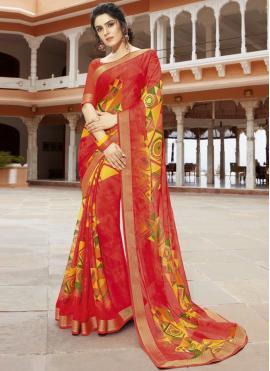 Stunning Printed Georgette Multi Colour Classic Saree