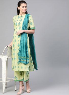 Stupendous Cotton Green Print Readymade Suit