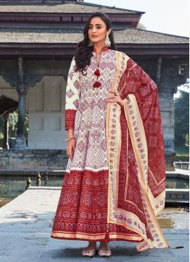 Stupendous Digital Print Silk Off White Readymade Anarkali Suit