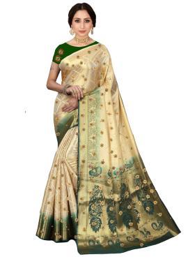 Stupendous Kanjivaram Silk Cream Classic Saree