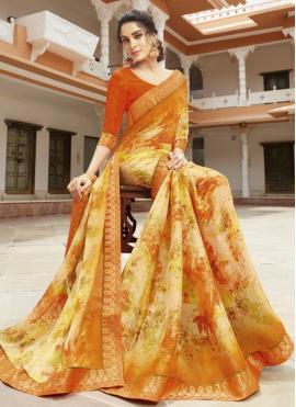Stupendous Multi Colour Printed Designer Saree