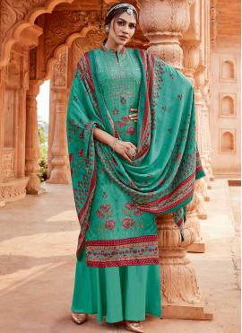 Stupendous Pashmina Embroidered Aqua Blue Designer Suit