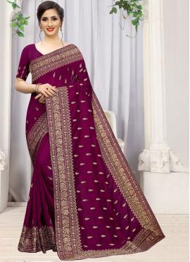 Stupendous Purple Embroidered Silk Saree