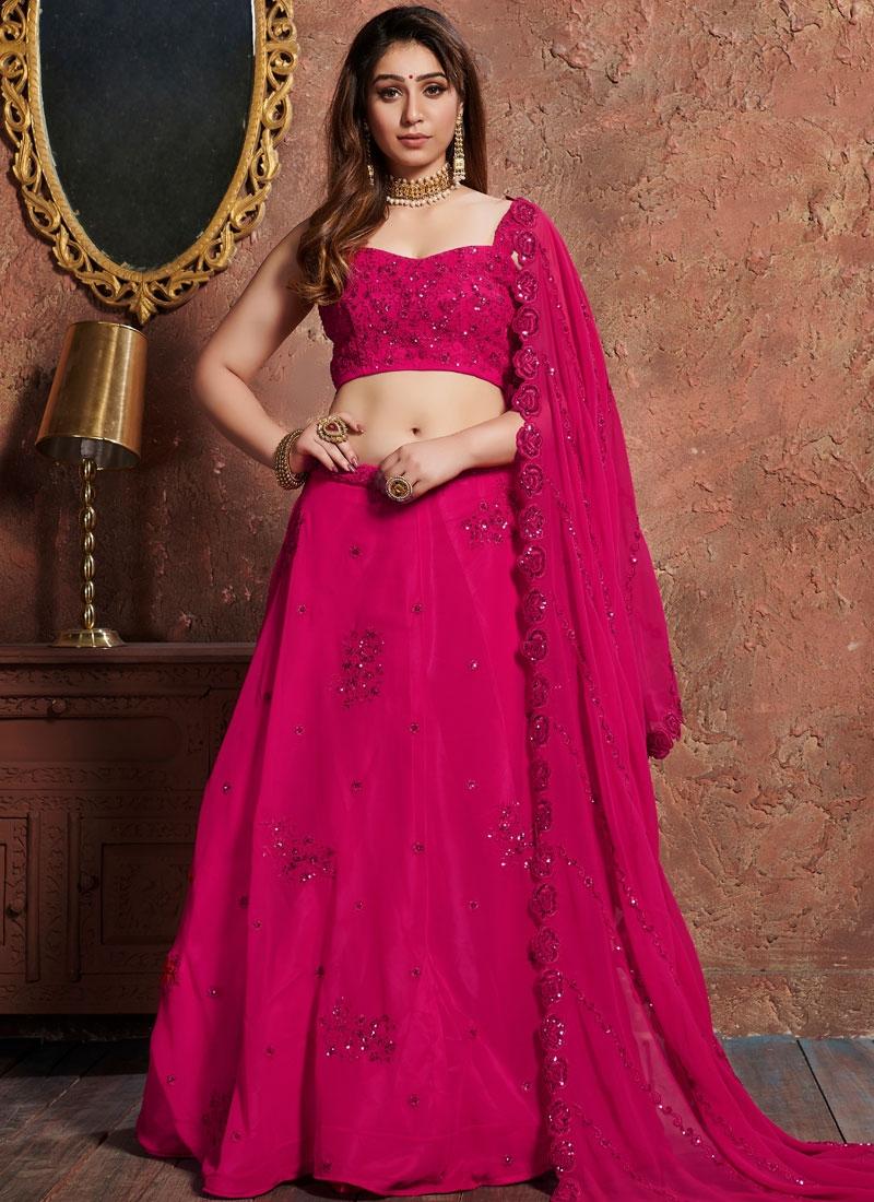 Stupendous Resham Hot Pink Lehenga Choli