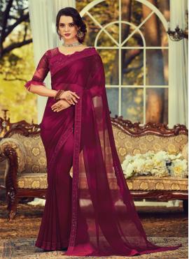 Stylish Embroidered Engagement Designer Saree