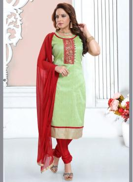 Stylish Green Embroidered Readymade Suit
