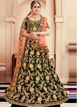 Stylish Green Mehndi Lehenga Choli