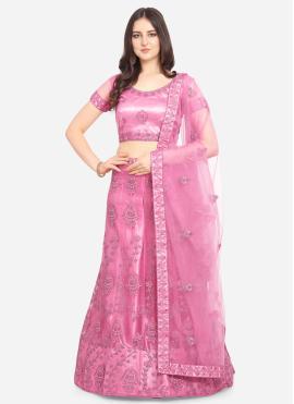 Stylish Hot Pink Embroidered Net Lehenga Choli