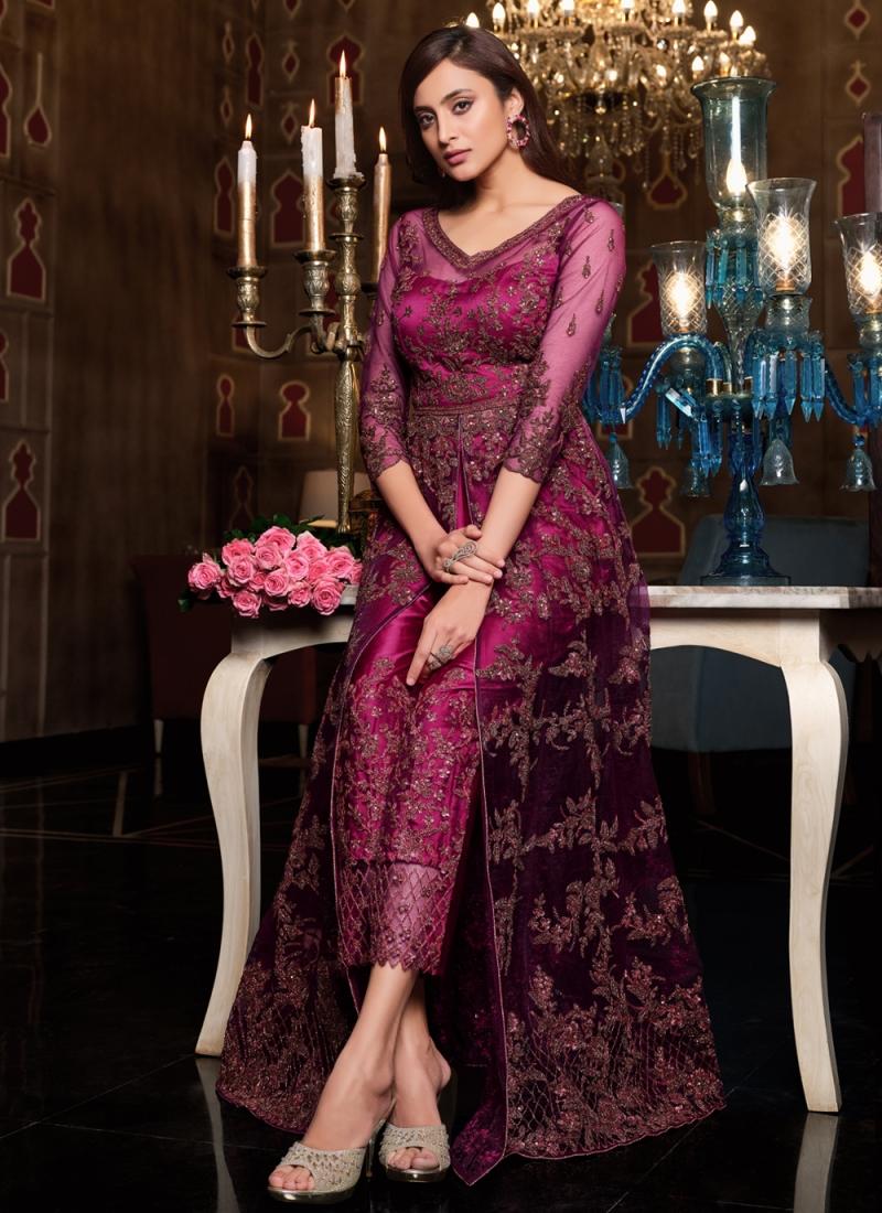 Stylish Net Sangeet Floor Length Anarkali Suit