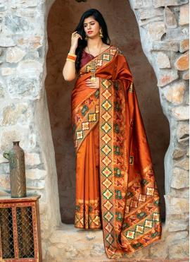 Stylish Orange Patola Silk  Contemporary Saree