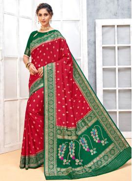 Stylish Weaving Red Designer Traditional Saree