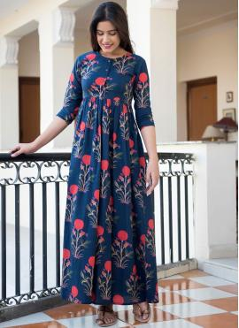 Suave Abstract Print Blue Party Wear Kurti