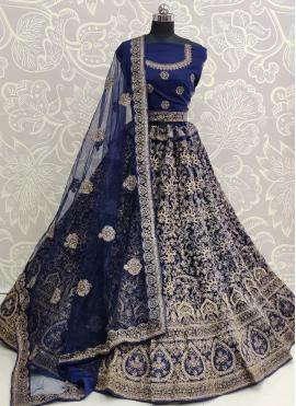 Suave Embroidered Blue A Line Lehenga Choli