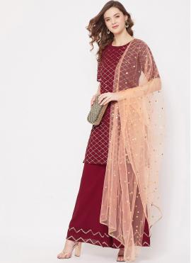 Suave Fancy Faux Georgette Maroon Designer Pakistani Salwar Suit