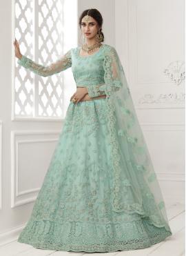 Suave Turquoise Engagement Lehenga Choli