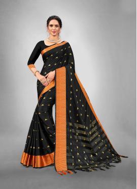 Suave Woven Black Art Silk Traditional Saree