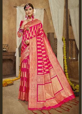 Subtle Banarasi Silk Weaving Hot Pink Designer Traditional Saree