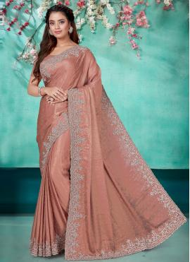 Subtle Embroidered Brown Shimmer Georgette Classic Saree
