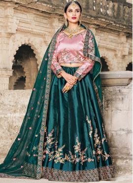 Subtle Embroidered Satin Green Lehenga Choli