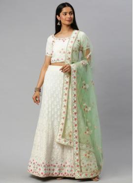 Subtle Off White Lace Lehenga Choli